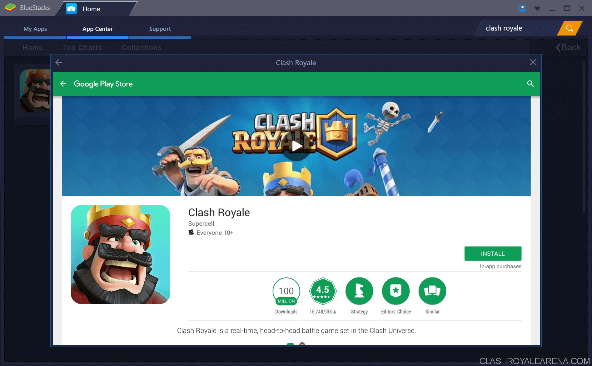 downloading clash royale on bluestacks